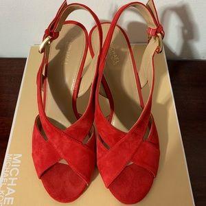 Michael Kors red high heels sandals